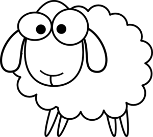 300x270 Outline Sheep Clip Art