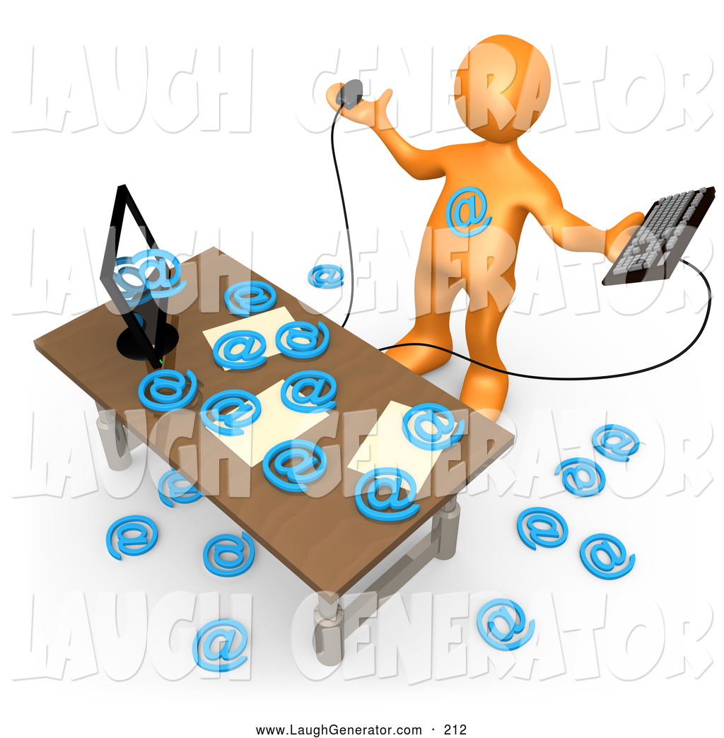 1024x1044 Humorous Clip Art Of A Computer In An Office Flooding Email