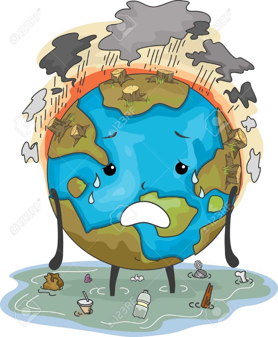 1073x1300 Mascot Illustration Featuring The Earth Suffering From Flooding