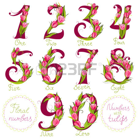 450x450 7,446 Floral Numbers Stock Vector Illustration And Royalty Free
