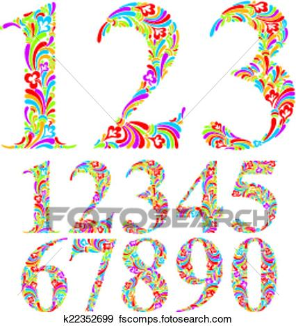 426x470 Clip Art Of Floral Colorful Numbers Set. K22352699