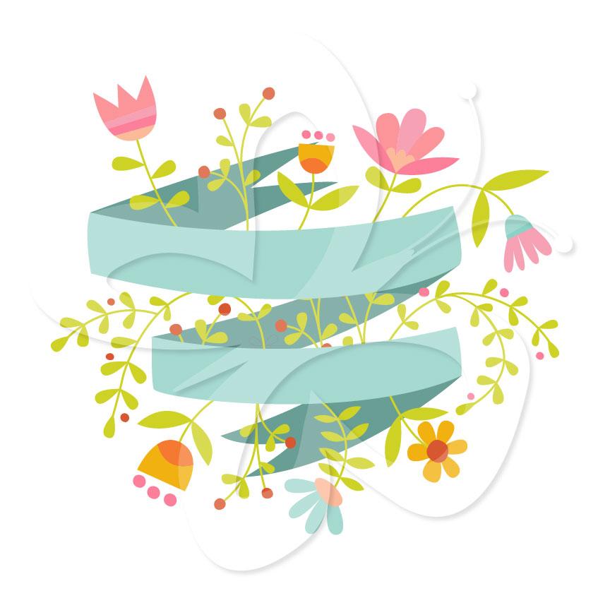 864x864 Floral Banner Clipart