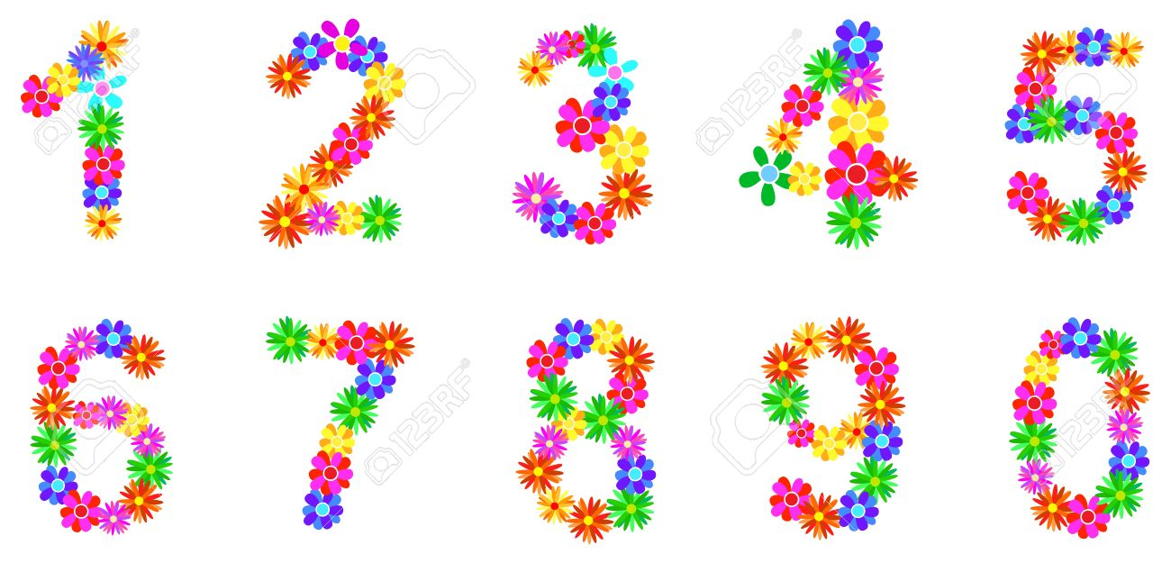 1300x625 Floral Numbers Clipart