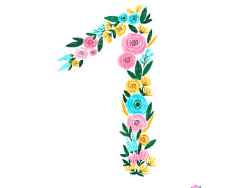 340x270 Floral Numbers Print Watercolor Clipart Number Six Watercolor