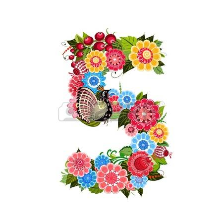 450x450 Floral Numbers Clipart