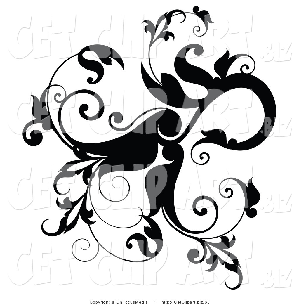 1024x1044 Clip Art Of A Black Leafy Flourish With Leaves And Vines Curling