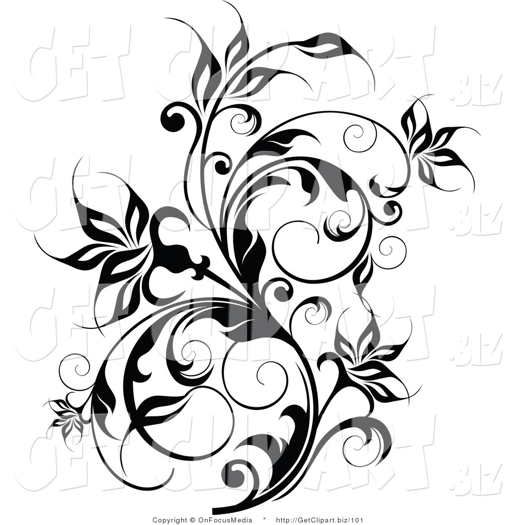 1024x1044 Clip Art Of A Thick Black Flowering Vine Flourish With Curly