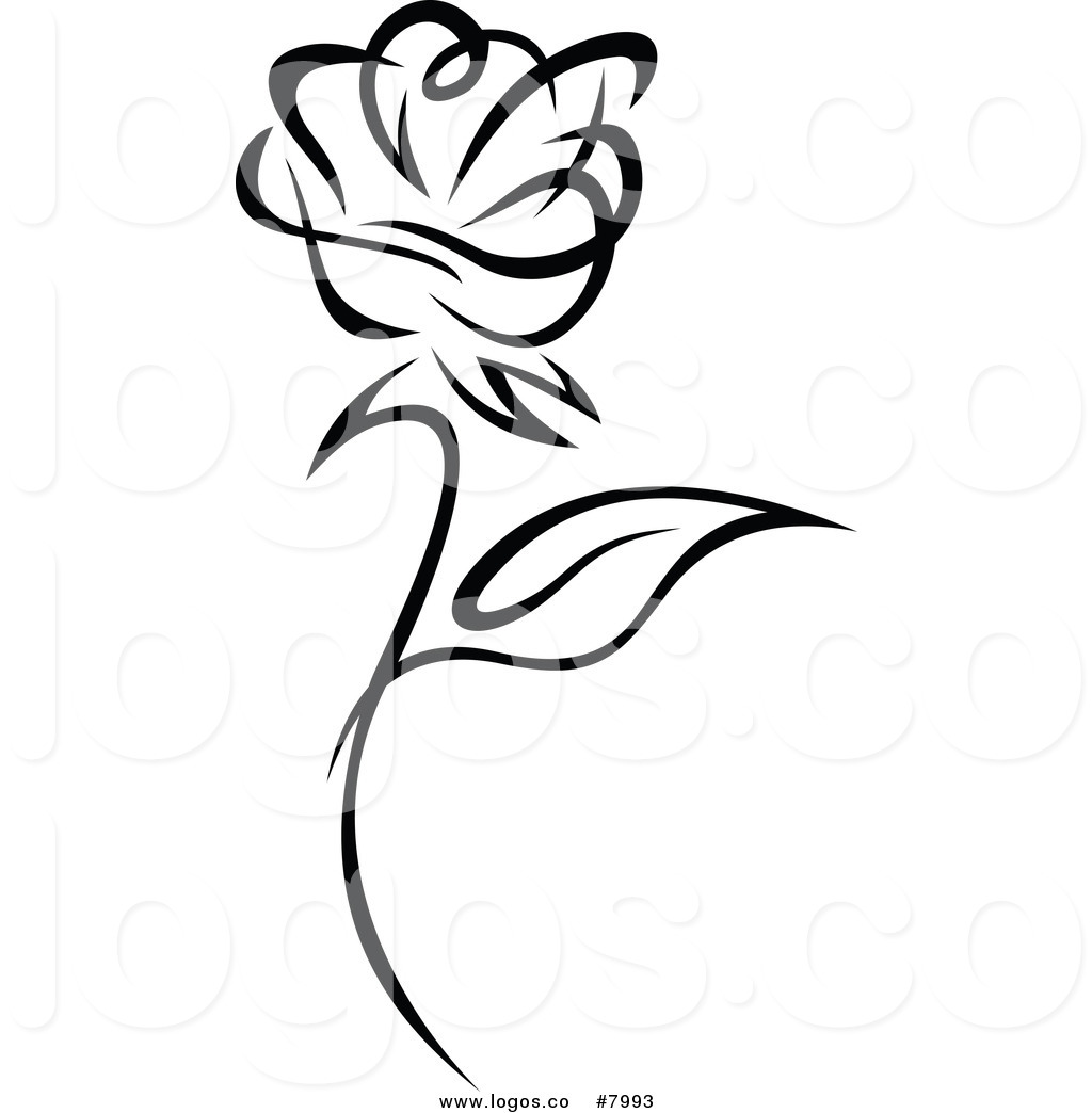 1024x1044 Royalty Free Clip Art Vector Of A Black And White Rose Logo By