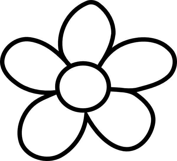 600x546 Black and White Flower Clip Art – Cliparts