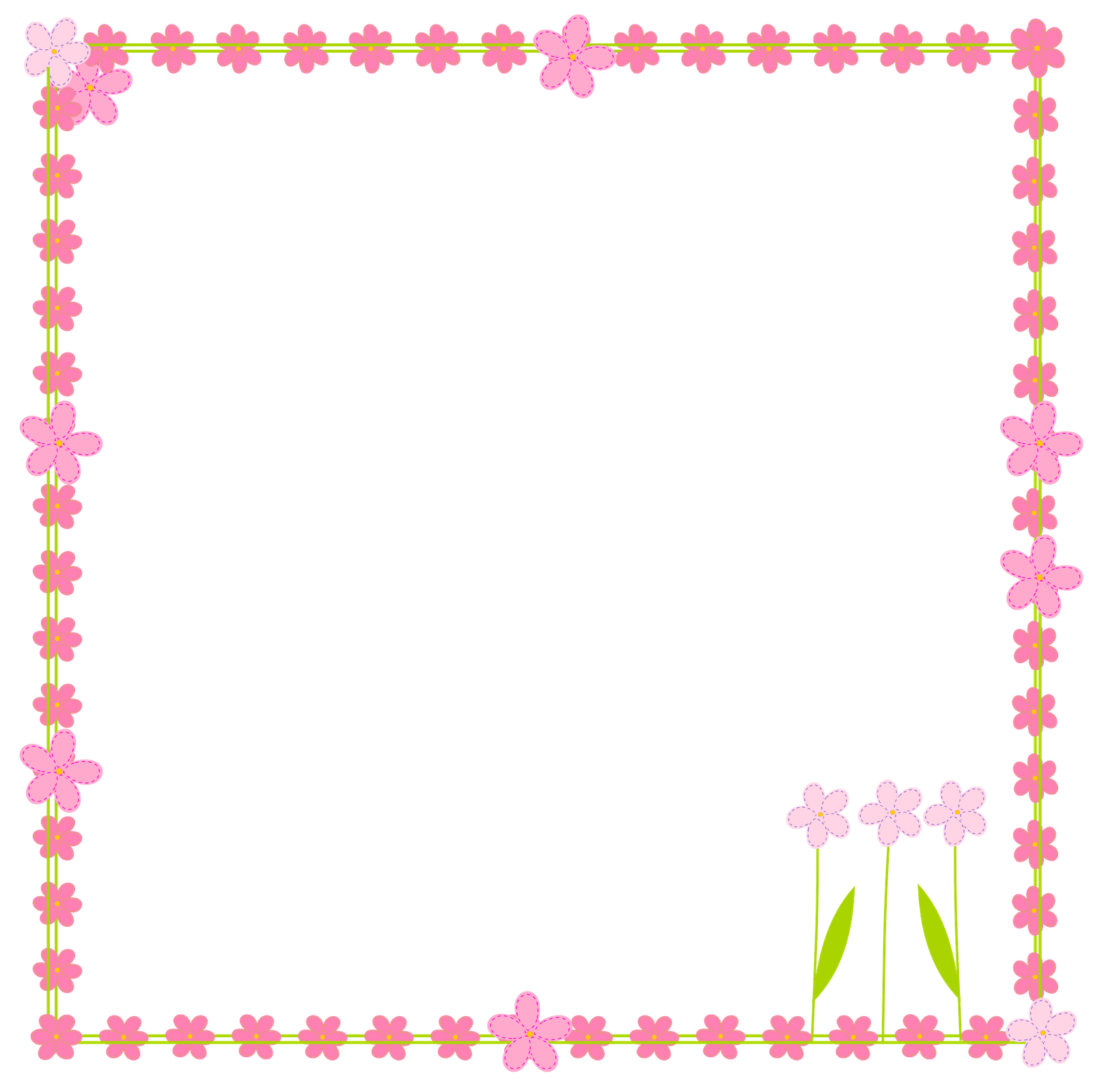 1600x1599 Flowers Border Clipart