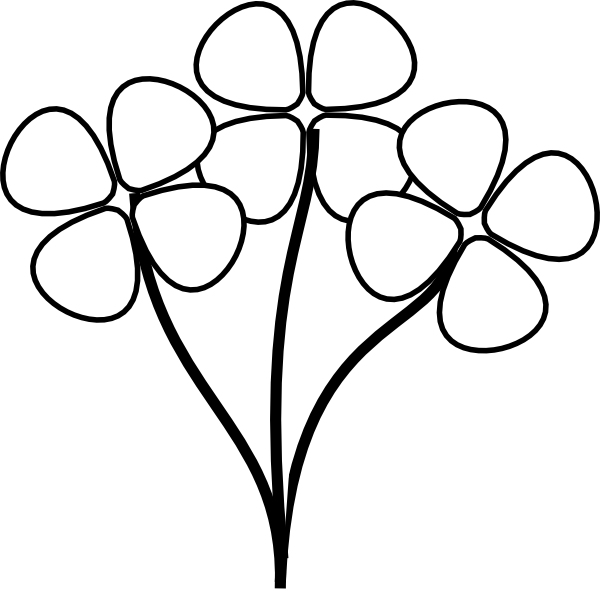 600x594 Flower Clipart Black And White Free
