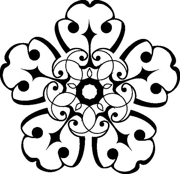 600x581 White And Black Ornamental Flower Clip Art