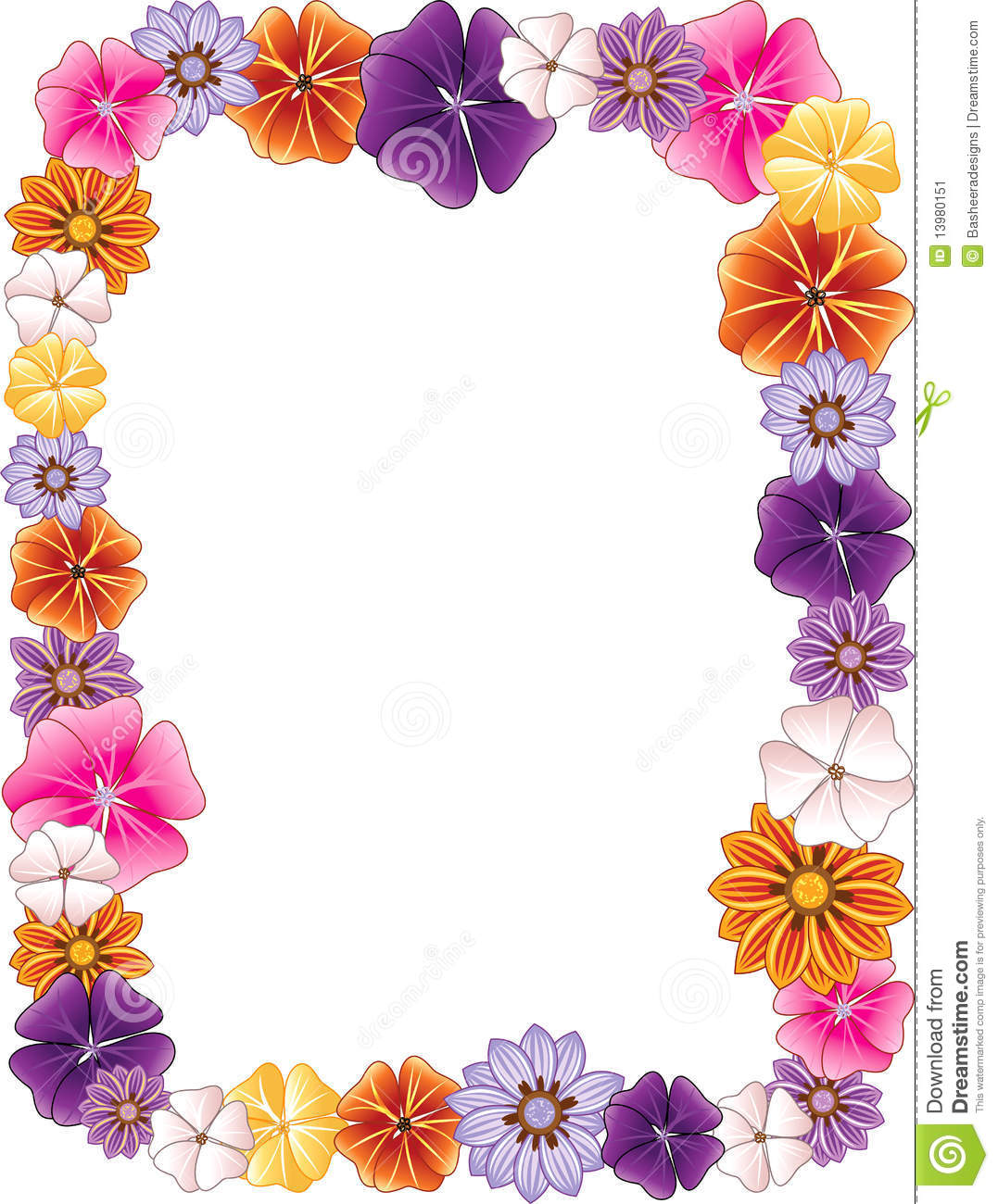 1077x1300 Flowers Border Clipart
