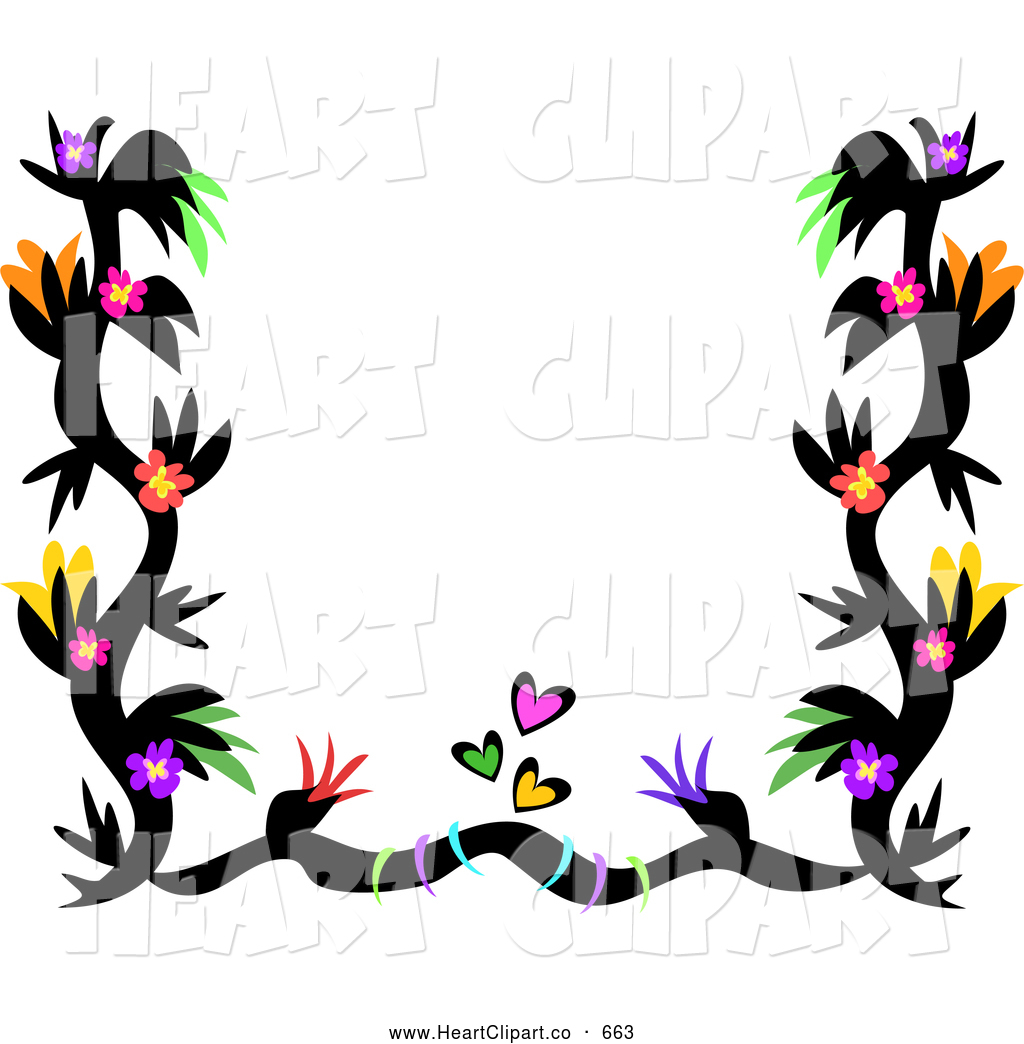 1024x1044 Clip Art Of A Tribal Black Tattoo Border With Colorful Flowers