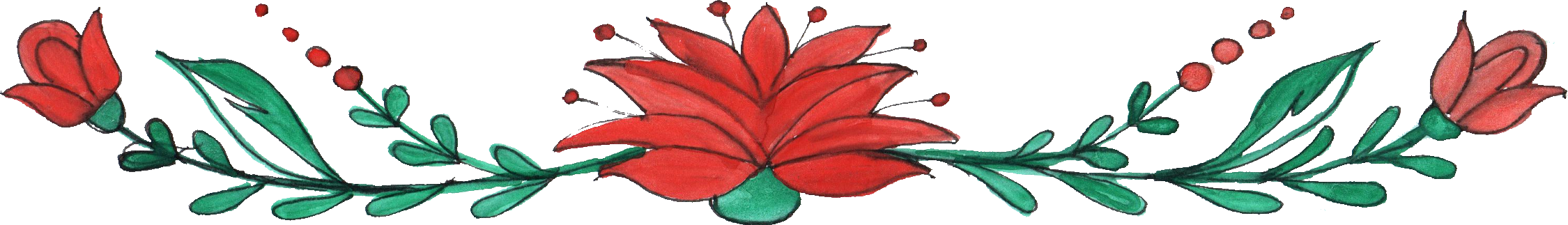 2250x323 8 Flower Border Drawing (Png Transparent)