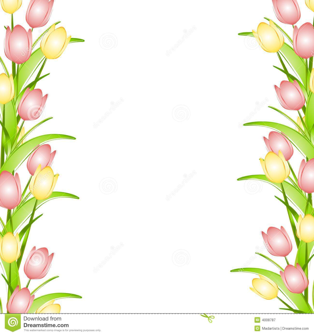 1300x1390 Oval Pink Borders Border Featuring Yellow And Pink Spring Tulips