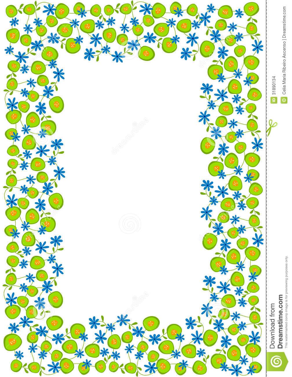 1008x1300 Spring Flower Border Clipart