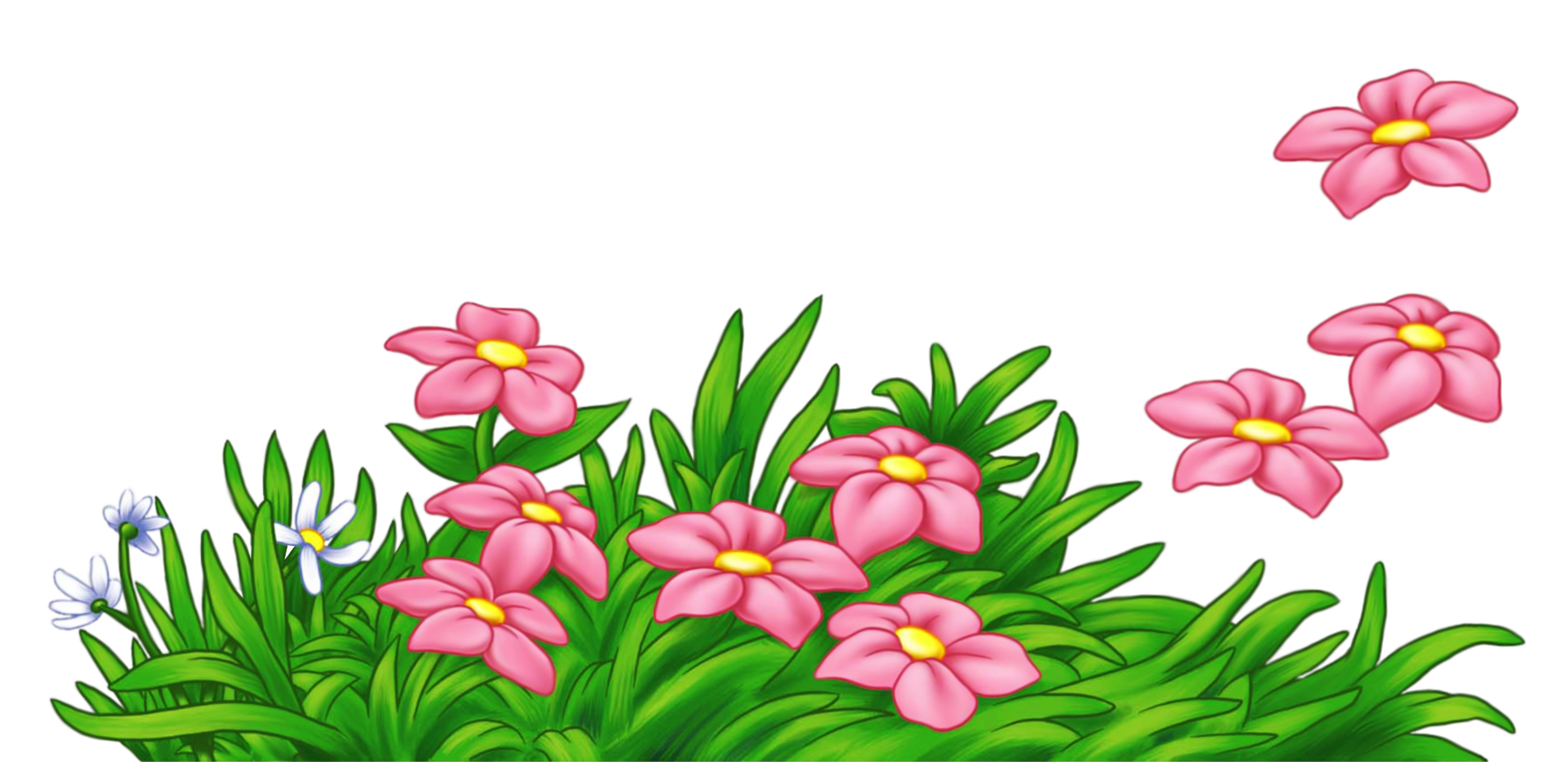 1740x846 Grass With Flowers Border Clipart