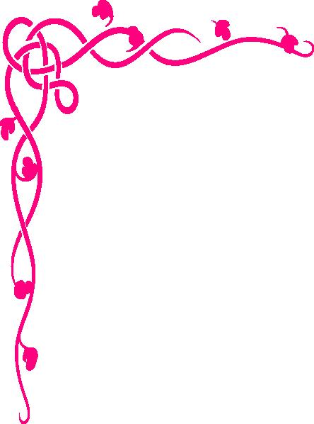 444x598 Pink Brown Flower Border Clip Art