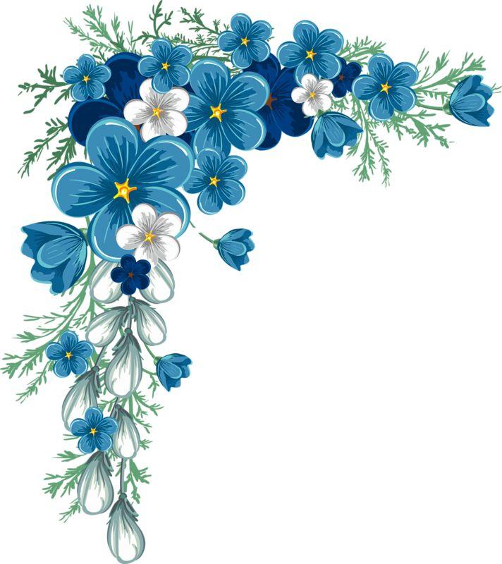 712x800 Blue Flower Clipart Border