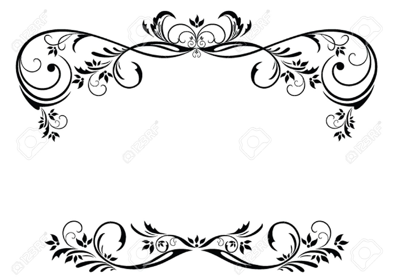 1300x914 Floral Vector Border. Good Black And White And Red Floral Borders