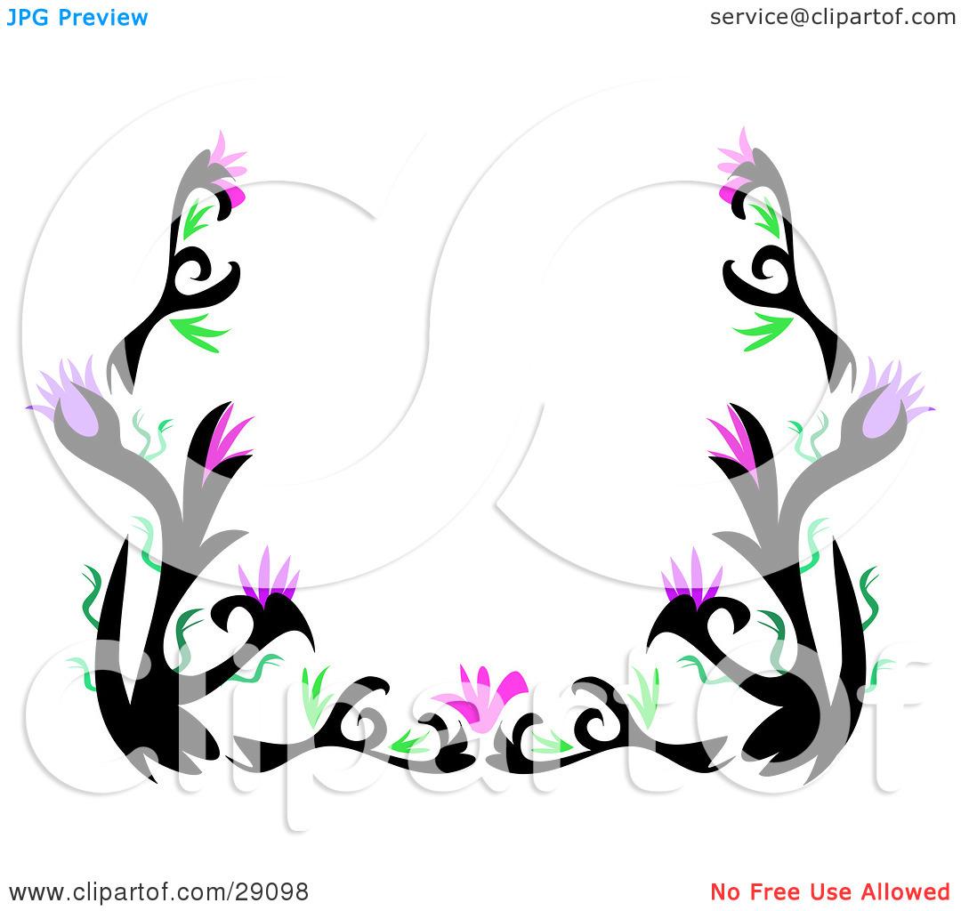 1080x1024 Purple Flower Clipart Dark Purple Border