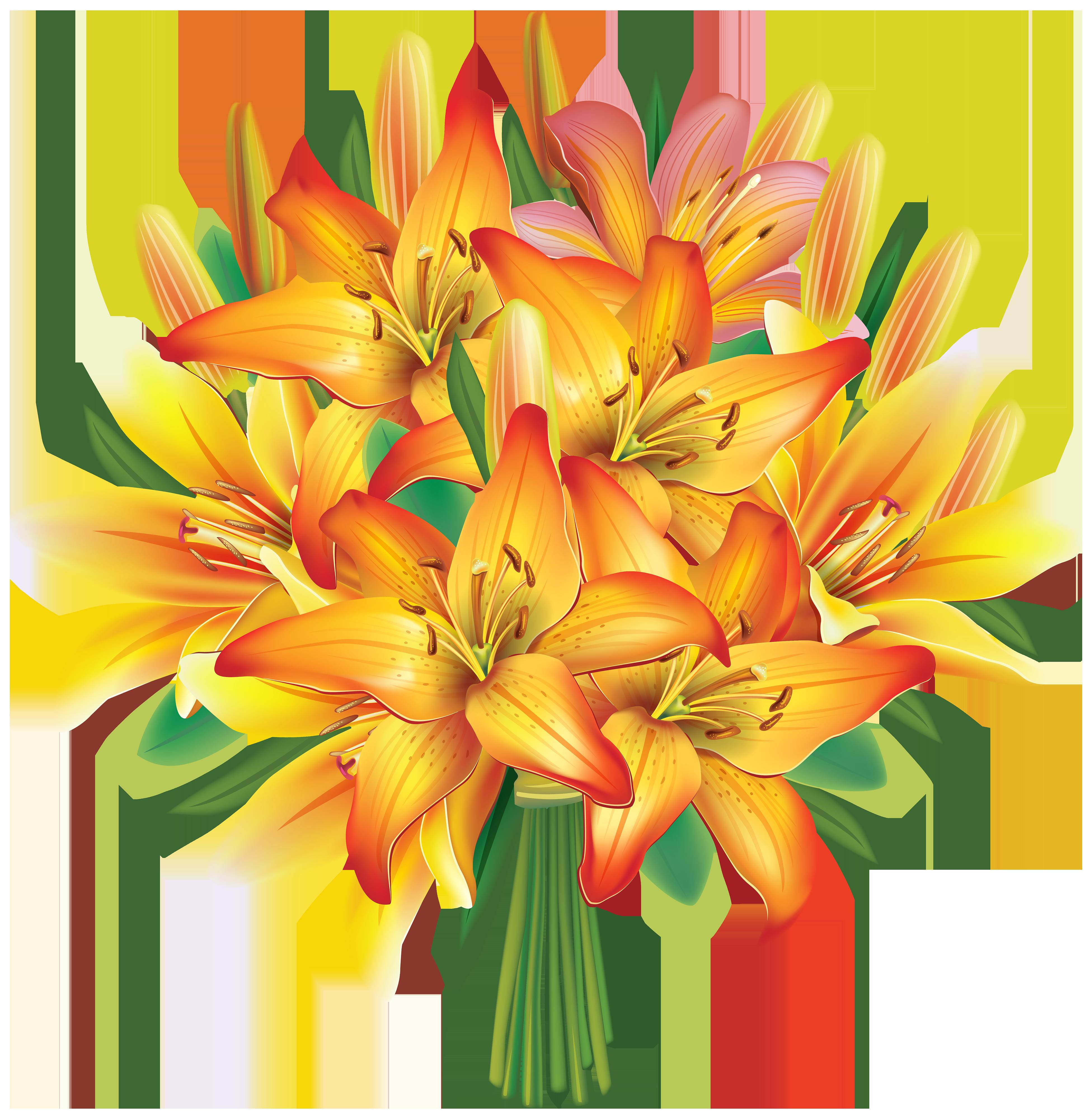 3903x4000 Flower Bouquet Lilies Flowers Bouquet Clipart Image