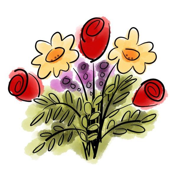 600x600 Watercolor Flower Bouquet Original Art Digital Download