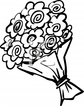 Bunch Of Flowers Clipart Black And White