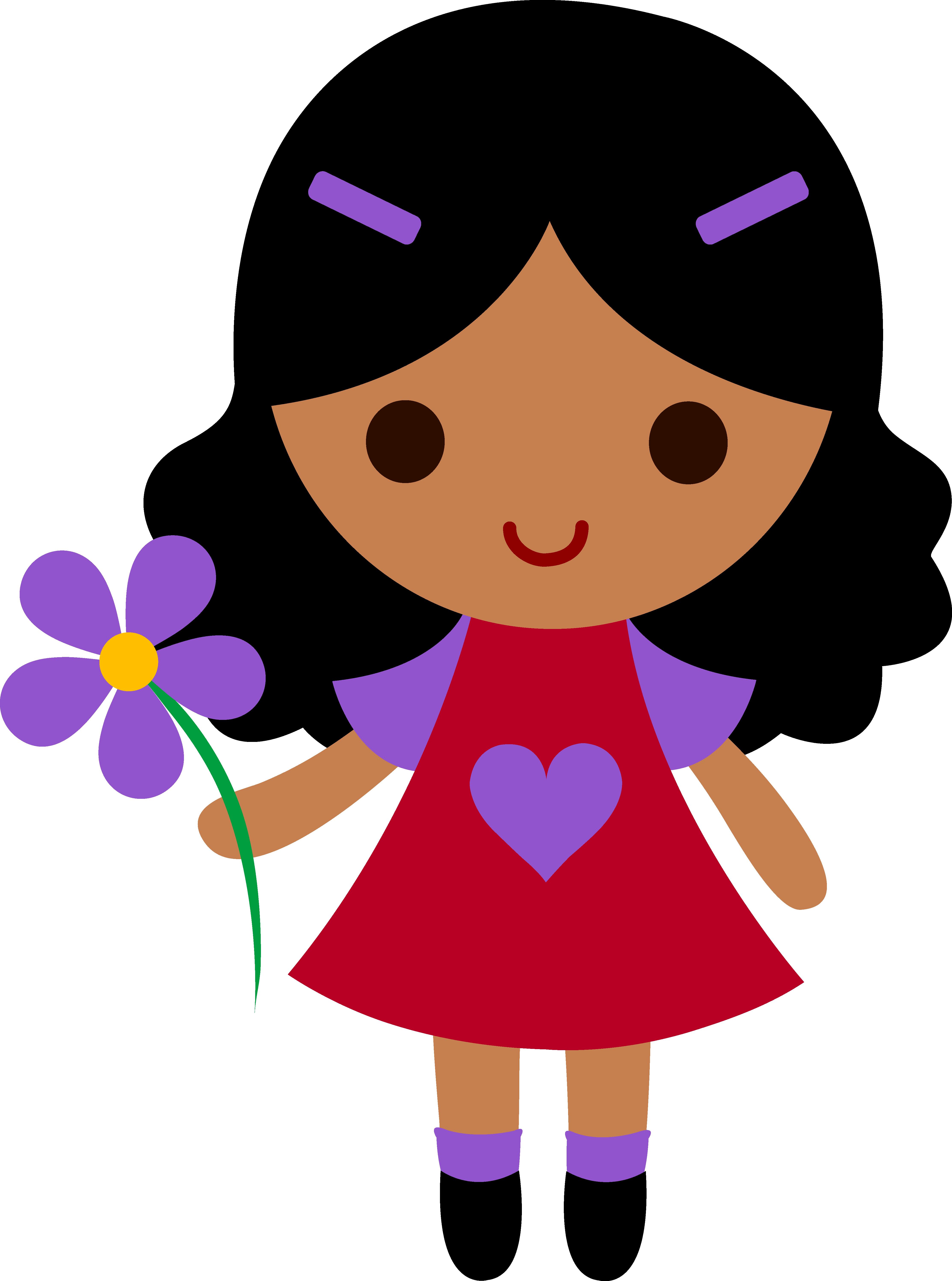 4451x5988 My Clip Art Of A Little Girl Holding A Purple Flower Sweet Clip