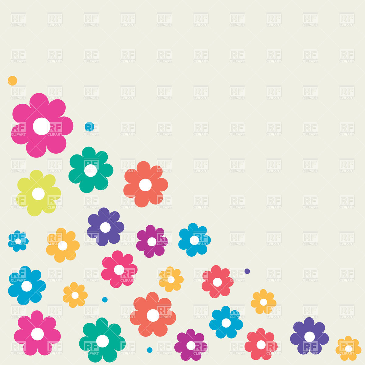 1200x1200 Simple Cartoon Flowers Grouped In A Corner Royalty Free Vector