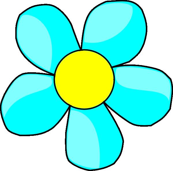 600x594 Aqua Flower Clip Art