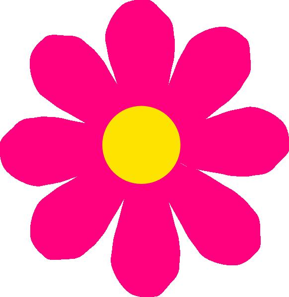 582x599 Bright Pink Flower Clip Art