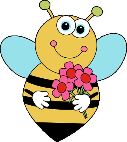 446x500 Cartoon Valentine's Bee With Flowers Clip Art