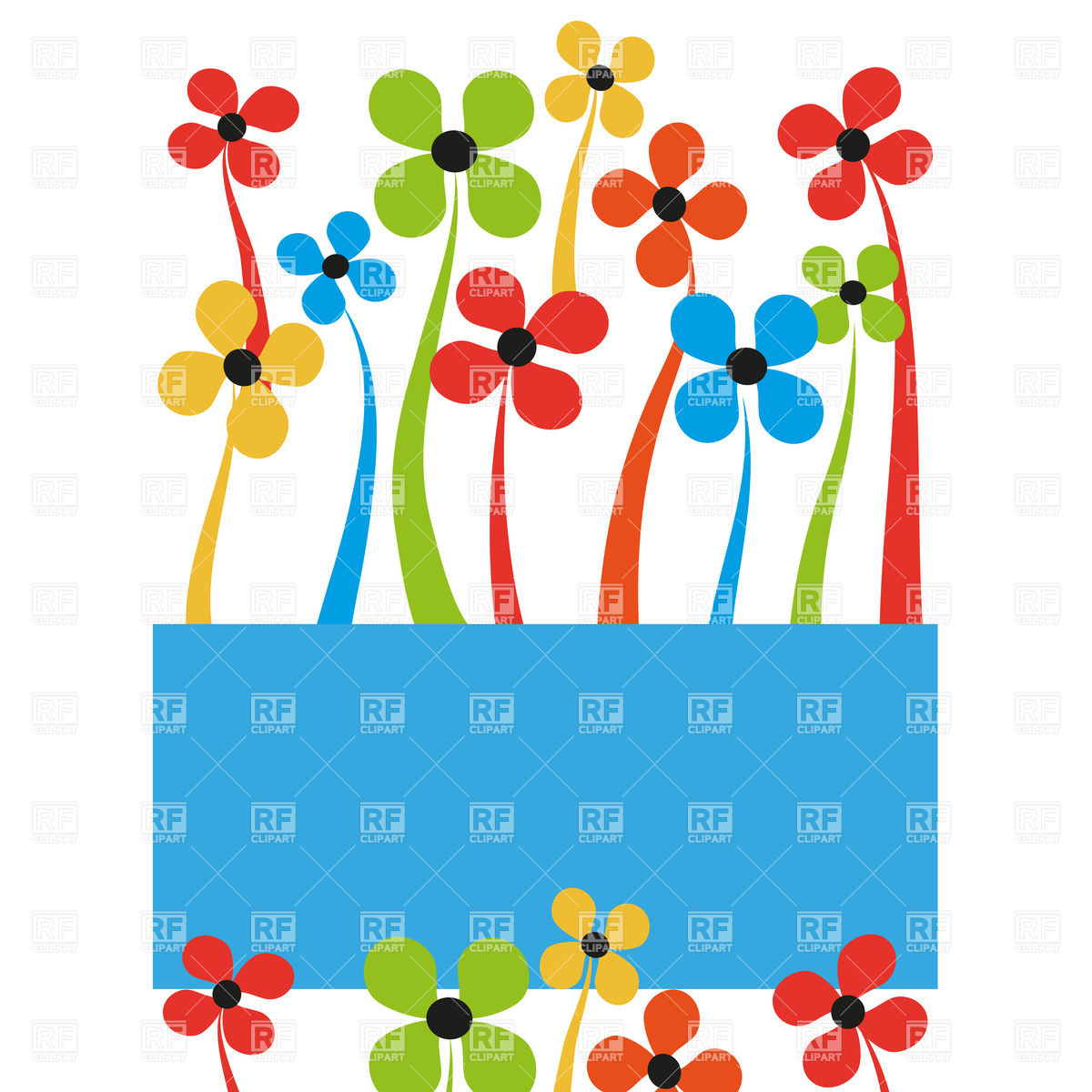 1200x1200 Cartoon Flowers And Banner Royalty Free Vector Clip Art Image