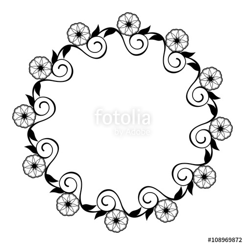 500x500 Round Flower Frame. Decorative Flowers Arranged On A Shape