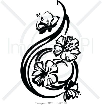400x412 Floral Clipart Black White Flower Flower Drawing Free Vector