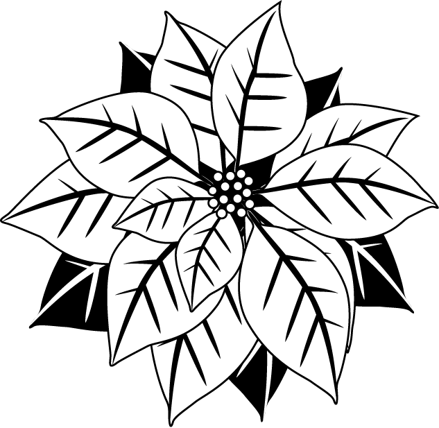 633x617 Poinsettias Clipart In Black And White Happy Holidays!