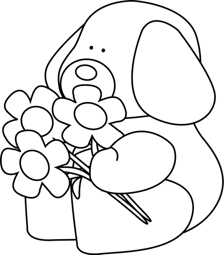 440x500 Black And White Valentine's Day Dog With Flowers Clip Art