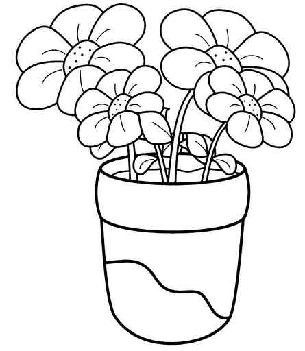 445x512 Flower Coloring Pages For Preschoolers