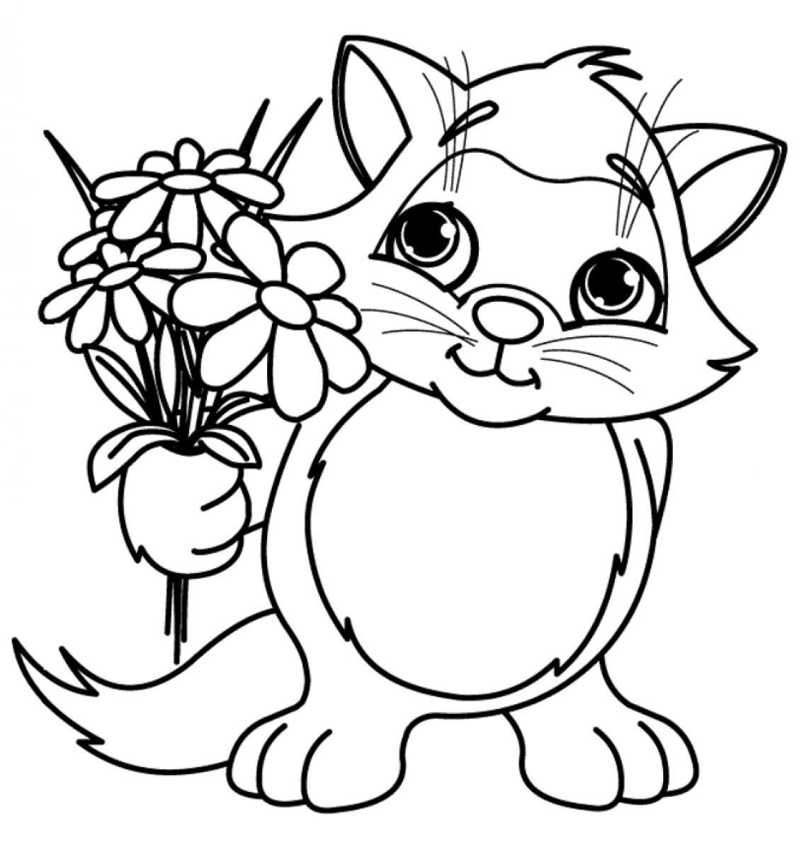 1135x1200 Cat brought flower coloring pages