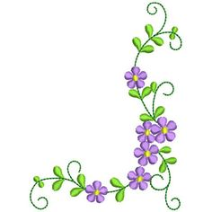 236x236 Floral Corner Embroidery Design Needlework