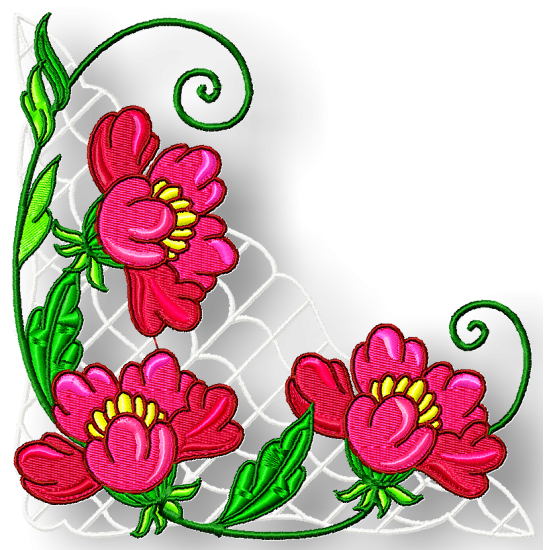550x550 Flower Corners Borders And More Pamela's Embroidery Designs