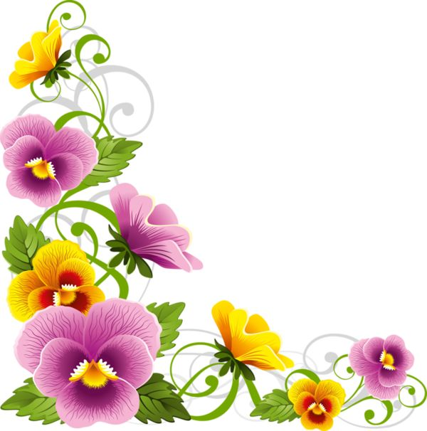 600x606 Pansy Clipart Vintage Flower Border