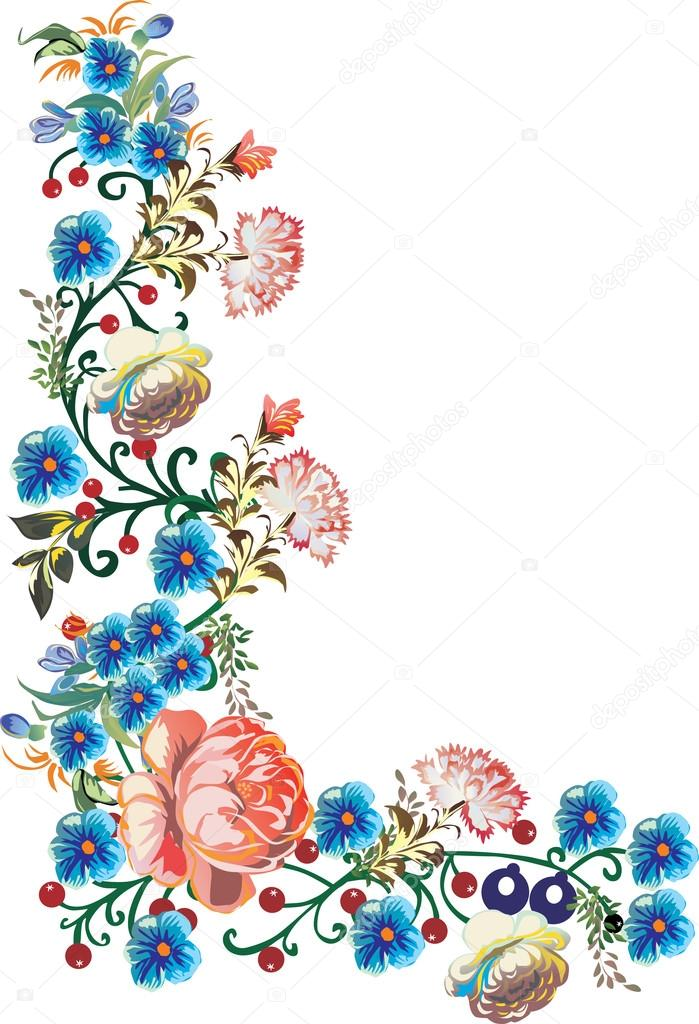 699x1024 blue flowers corner illustration — Stock Vector © Dr.PAS
