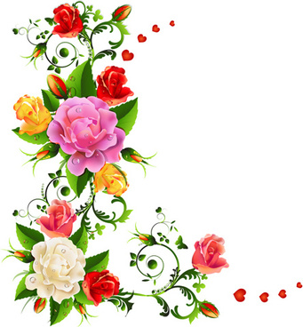 341x368 Color flower corner designs free vector download (30,544 Free