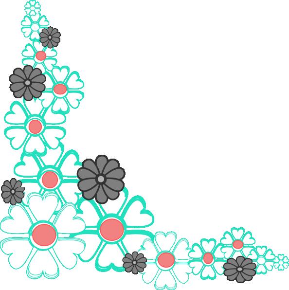 594x596 Floral Corner Clip Art