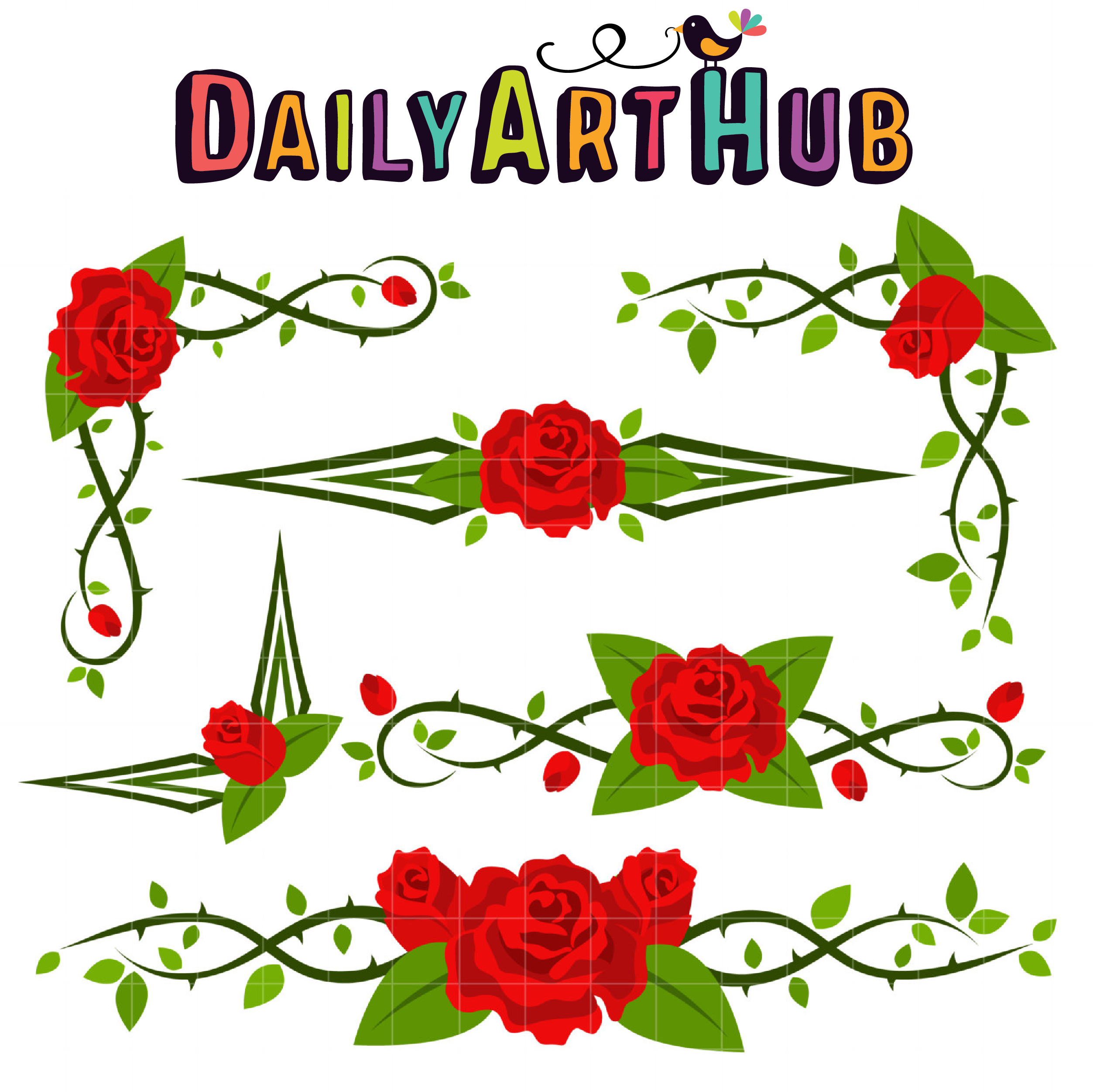 2505x2503 Red Rose Corners Amp Borders Clip Art Set Daily Art Hub