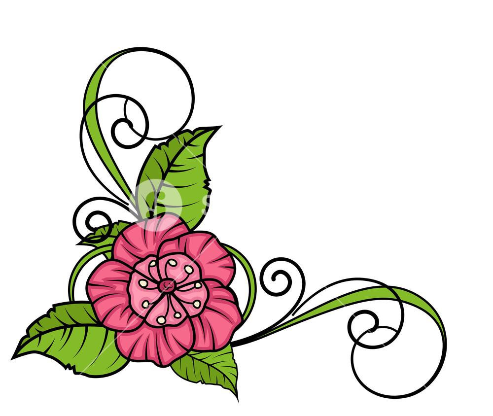 1000x844 Pink Flower Swirl Corner Frame Royalty Free Stock Image