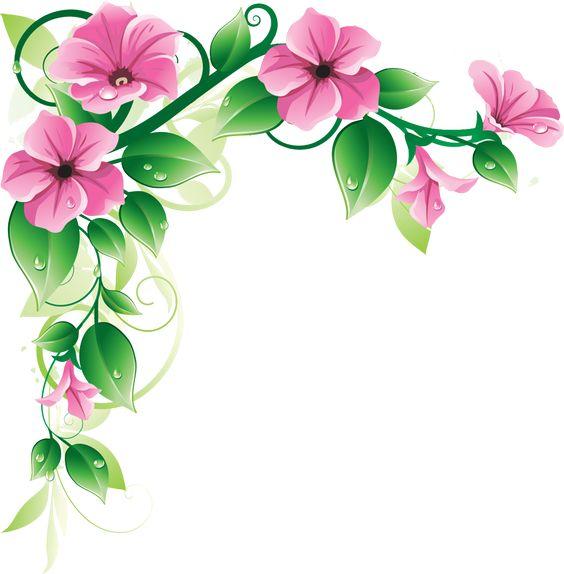 564x574 Purple Flower Corner Border Clip Art Cliparts